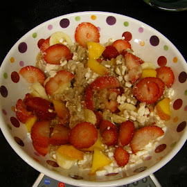 Oatmeal - Cottage Cheese - Fruit Breakfast by Rita Goebert - Food & Drink Plated Food ( breakfast; oatmeal; cottage cheese; peaches; strawberries; )