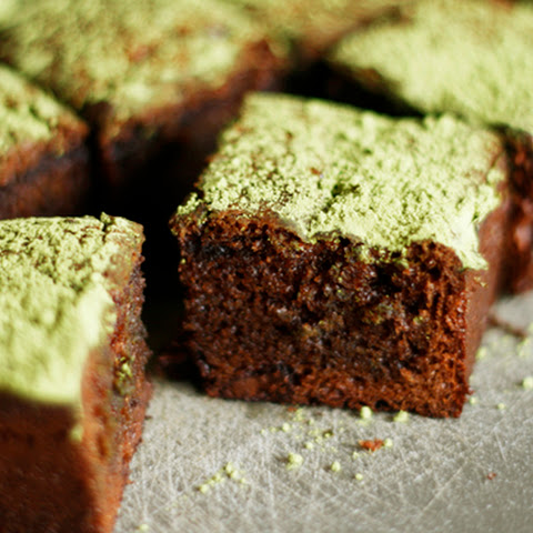 Chocolate Mochi Brownies with Matcha