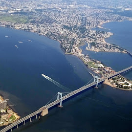 Throg's Neck Bridge by JEFFREY LORBER - Instagram & Mobile Android ( lorberphoto, airplane, from airplane, throg's neck bridge, new york, bridge, jeffrey lorber )