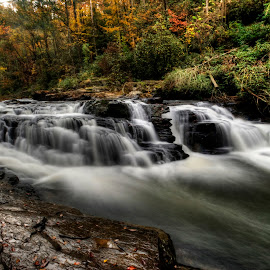 Falls at Chauga Narrows by Steven Faucette - Landscapes Waterscapes ( fall, rapids, chauga river, south carolina )