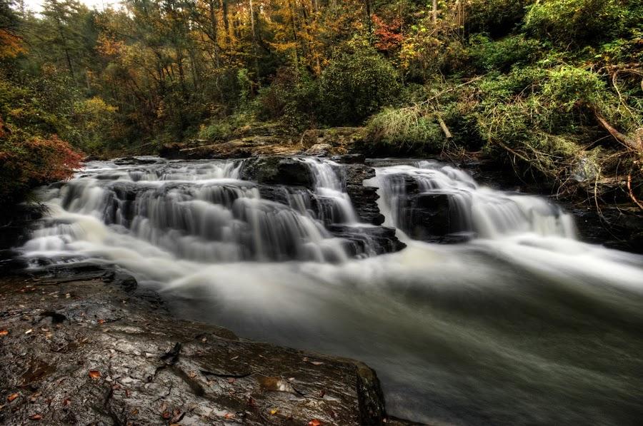 Falls at Chauga Narrows by Steven Faucette - Landscapes Waterscapes ( fall, rapids, chauga river, south carolina )
