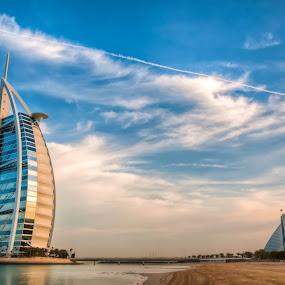 The Burj Al Arab by Darren Tan - Buildings & Architecture Office Buildings & Hotels ( clouds, dubai, jumeirah, burj al arab, hotel, beach )