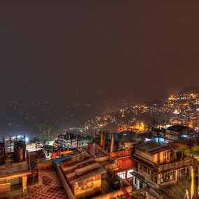 Gangtok at night by Shikhar Sharma - Landscapes Starscapes ( lights, hills, gangtok, cityscape, homes )
