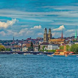 Zurich - view from the lake by Radu Eftimie - City,  Street & Park  Vistas ( zurich, buildings, switzerland, cathedral, lake )