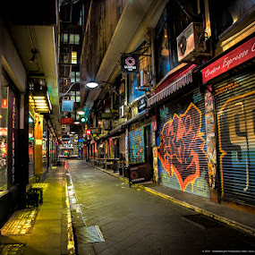 Night Alley by Phil Hanna - City,  Street & Park  Street Scenes ( street light. streets, melbourne, graffitti, victoria, night, alley )