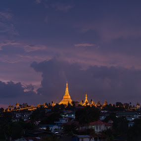 Gold & Blue :: Shwedagon by Tin Htoo Khaing - Travel Locations Landmarks ( myanmar, sunset, rangoon, yangon, shwedagon, burma )
