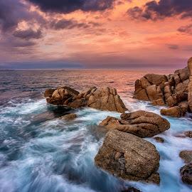 Motion rocks by Nicole Rix - Landscapes Waterscapes ( water, clouds, waterscape, waves, view, seascape, rocks,  )