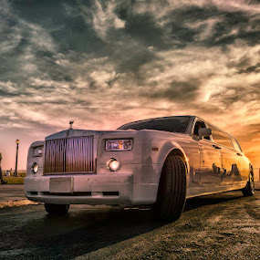 Limo's beautiful sunset reflection by Jerome Obille - Transportation Automobiles ( clouds, limo, car, limousine, hdr, automobile, sunset, service, cloudscape, transportation, , CARS, TRUCKS, TRANSPORTATION, HOT RODS )