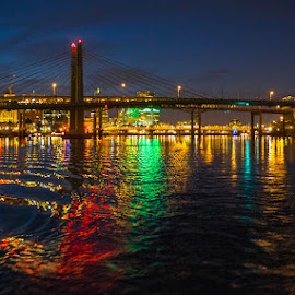 Three Willamette Bridges by Richard Duerksen - City,  Street & Park  Night ( oregon, willamette, bridges, portland oregon )