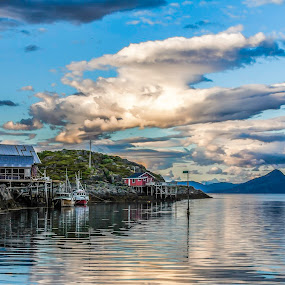 Cloudes and boats by Benny Høynes - Landscapes Cloud Formations ( cloudes, boats, buildings, sea, lake, rocks )