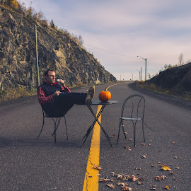 Man and is coffee by Patrick Provencher - People Portraits of Men ( road, table, man )