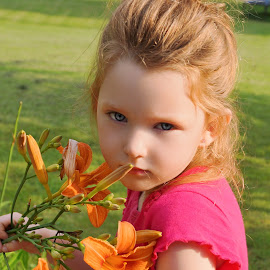 Lovely With Lilies by Cheryl Korotky - Babies & Children Child Portraits