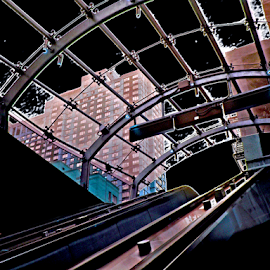 subway view by Edward Gold - Digital Art Things ( skylines escalator, subway, blue, buildings, black, brown,  )