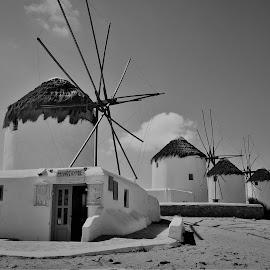 Mykonos Windmills in B&W by Lorna Littrell - Black & White Buildings & Architecture ( b&w, black and white, greece, buildings, historical, architecture, windmills,  )