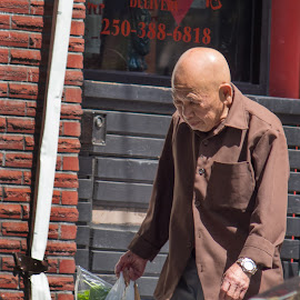 In Chinatown by Jerry Kambeitz - People Street & Candids ( walking, old, chinatown, chinese, man )