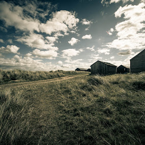 Huts by Peter Rollings - Landscapes Beaches ( clouds, sand, dunes, sky, huts, grass, winterton )