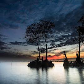 Waiting for sunrise by Andrika Wijayanti - Landscapes Sunsets & Sunrises ( dawn, long exposure, sunrise, beach, landscape, morning )