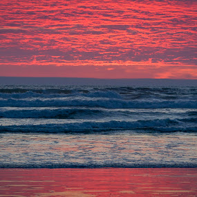 Reflections by Scott Wood - Landscapes Beaches ( clouds, water, sky, sunset, ocean shores, waves, pacific, ocean, beach, coast, sun )