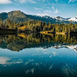 Still Water by Leslie Heisey - Landscapes Travel ( water, reflection, mountain, blue, alaska )