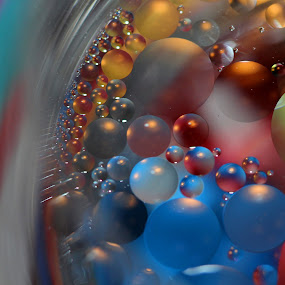 In the Glass by Janet Herman - Abstract Macro ( abstract, oil drops, macro, colors, ellipses, orbs )