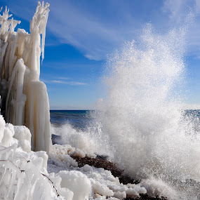 Making Ice! by Sandra Updyke - Landscapes Waterscapes ( splash, ice, wave, north shore, lake superior )