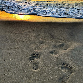 sunrise foot prints by Rob King - Landscapes Beaches ( water, footprints, foot, beach, sunrise, prints, sun )