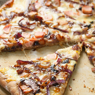Whole wheat Caramelized onion bacon pizza