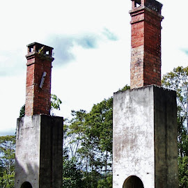 Old Chimney Stacks by Sarah Harding - Novices Only Objects & Still Life ( building, novices only, architecture, historic, abandoned )