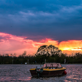 Sunset by DC Photos - Novices Only Landscapes ( plovdiv, nature, waterscape, sunset, outdoors, skyporn, rowing channel, boat, bulgaria )
