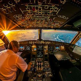 Sunrise In The Office by Karim Nafatni - Transportation Airplanes ( fisheye, knxposures, airplane, shrajah, transportation, airbus, cockpit, sigma, dubai, a320, uae, aircraft, nikon )