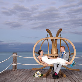 Love Chair by Andrew Morgan - Wedding Bride & Groom ( clouds, chair, zanzibar, sky, wedding, bride, groom )