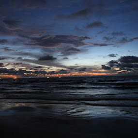 Dusk at Lutong Beach by Manoj Ojha - Landscapes Beaches ( #dusk #lutongbeach #, #southchinasea #sunset #oilandgasrigs #offshoreplatformlights #offshoreshipslights #miri #sarawak #borneoisland #malaysia #eastmalaysia #lutong #cloud #horizon #sunsetorange )