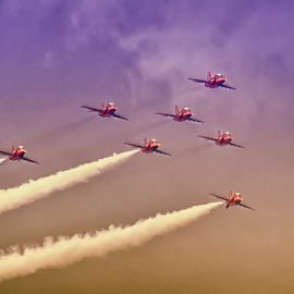 Red Arrows by Dez Green - Transportation Airplanes ( flying, red arrows, flight, airshow, formation )