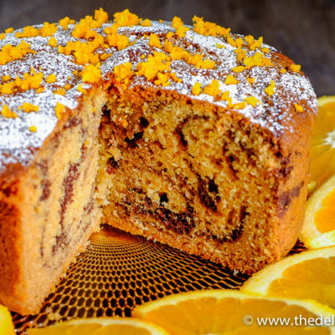 Tahini Orange Chocolate Marble cake