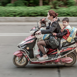Family Scooter by Andre Oelofse - Transportation Motorcycles ( mother, childhood, children, family, scooter, transportation )
