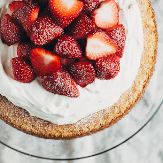 Layered Strawberry Almond Cake with Mascarpone Cream