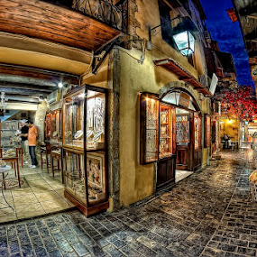 Rethymnon/Crete/Greece by Pawel Tomaszewicz - Buildings & Architecture Other Exteriors ( canon, rethymnon, grecja, old, hdr, greek, street, grecki, greece, greckie, uliczki, crete, lights, summer, town, flowers, kriti )