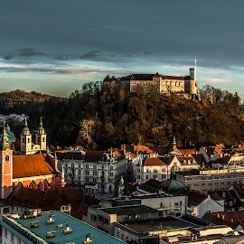 Sunset by Mario Horvat - City,  Street & Park  Vistas ( sky, sunset, buildings, ljubljana, castle, city )