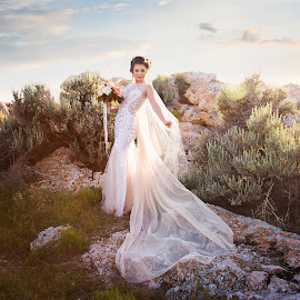 Bride - On The Rocks by Kylie Nielson Howes - Wedding Bride ( bridal, wedding, sunset, bride, rocks, photography )