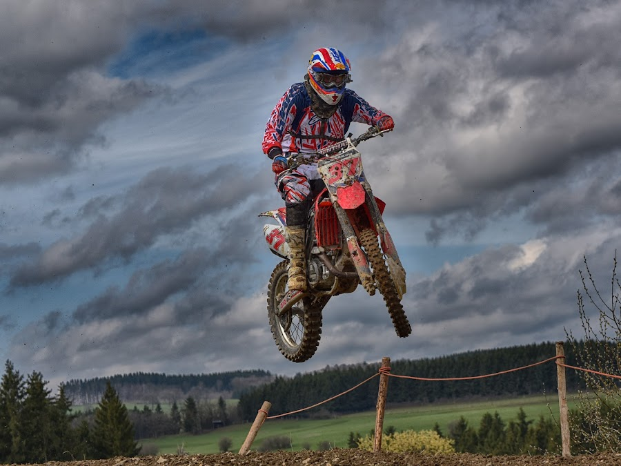 Air 37 by Marco Bertamé - Sports & Fitness Motorsports ( clouds, flying, red, motocross, blue, speed, number, air, race, 37, noise, jump )