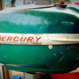 Vintage Merc by Becky Luschei - Artistic Objects Antiques ( old, engine, vintage, motor, boats, outboard, antique, mecury )