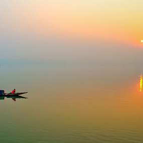 Sunrise Over River Ganges by Chiradeep Mukhopadhyay - Landscapes Sunsets & Sunrises ( nature, ganges, sunrise, landscape, river )