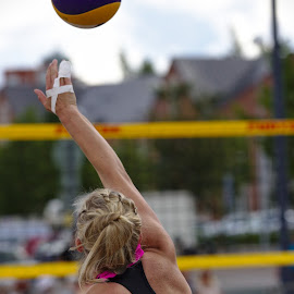 Beach volley by Simo Järvinen - Sports & Fitness Other Sports ( sand, ball, volleyball, woman, beach volley, sports, summer, game )