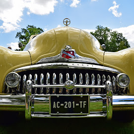 I Eat You ! by Marco Bertamé - Transportation Automobiles ( f, car, plate number, 1946, c, letter, vintage, a, chrome, buick, number, yellow, eight, 2, 1, t, 0, headlights, 76c, anno, oldtimer, bumper, hood, roadmaster,  )