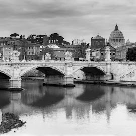 View from the Tiber by Maurizio Tuccio - Buildings & Architecture Bridges & Suspended Structures ( black and white, rome, trip, vatican, italy, tiber, travel photography )
