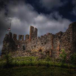 Dudley castle by David Sheppard - Buildings & Architecture Public & Historical ( dudley castle sky dark cloud grass blue sky cannon flag uk england )