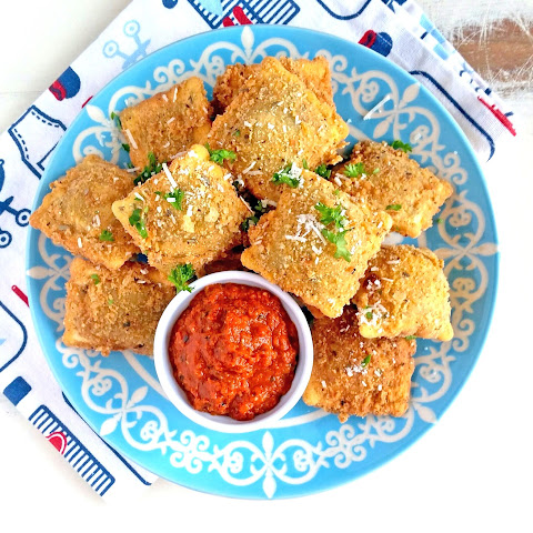 Fried Ravioli with Sun Dried Tomato & Parmesan Marinara