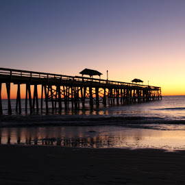 The Pier by Jackie Eatinger - Landscapes Beaches ( florida, sunrise, beach )