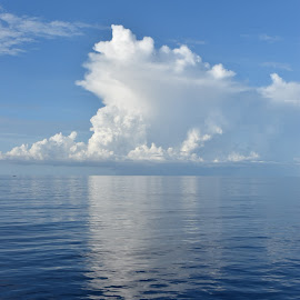 Cloud on water  by Julie Sawicki - Landscapes Cloud Formations ( cloud, ocean, white, blue, reflection, puffy, water )