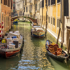 Quite Backwater Canal Venice Italy by Graham Mulrooney - City,  Street & Park  Historic Districts ( water, reflection, building, unloading, northern italy, striped poles, boats, reflections, boat, canal, world heritage site, venetian, stonework, backwater, gondola, colourful, horizontal, mediterranean, buildings, venice, bridge, italy )